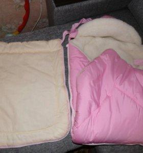 Конверт-одеяло на овчине зимний