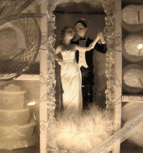 Набор свечей и статуэтка на торт свадебный