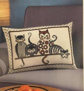 Вышивка новый вышивальный набор коты подушка