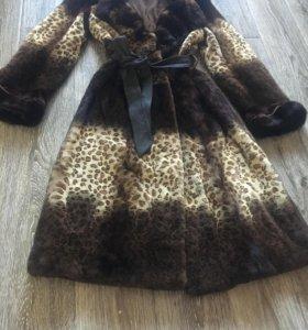 Шуба норковая леопардовая