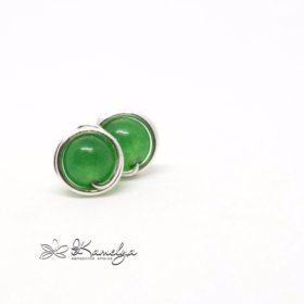 Серьги гвоздики с зелёным нефритом. Серебро 925 пр
