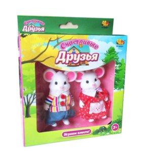 """Набор фигурок животных """"Счастливые друзья"""" Мышки"""