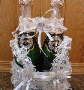 Новый мешочек для свадебного шампанского