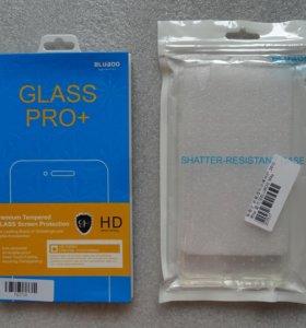 Силиконовый чехол+защитное стекло для Bluboo Maya