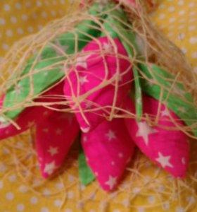 Текстильные тюльпаны новые в подарок