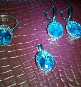 Голубой сапфир в серебре