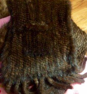 Палантин (шаль, шарф, накидка) из вязаной норки