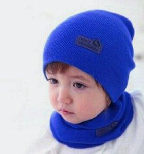 Детский набор шапка шарф (новый)