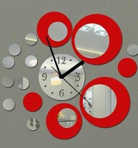 Настенные часы из зеркальных элементов