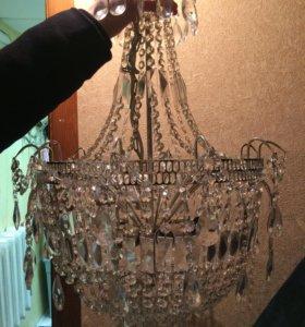 Люстра в отличном состояние 5 ламп стекло