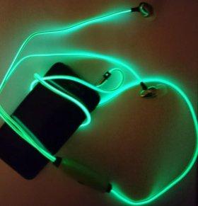 Светящиеся наушники гарнитура