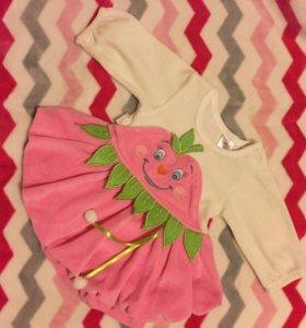 Платье велюровое на 3-6мес