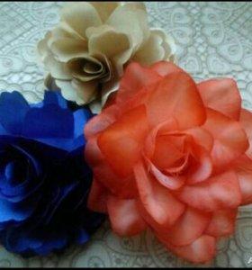 Тканевые цветы. Брошь