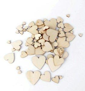 Сердечки деревянные для декора