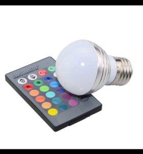 Лампа светодиодная RGB с пультом