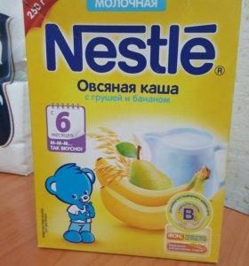 каша молочная овсяная с грушей и бананом