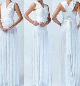 Белое платье в пол трансформер