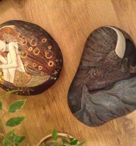 Слон на камне, ручная роспись акрилом