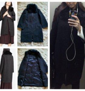 Пальто зимнее Zara с меховым воротником