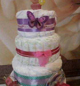 Торт из памперсов/подгузникоа