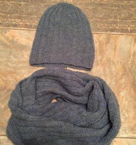 Комплект зимний женский: шарф, шапка