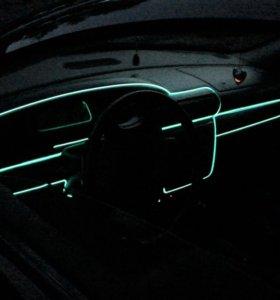 """Лента-декор 12v в авто,неоновый цвет """"ice-blue""""."""