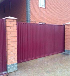Откатные ворота за 24000 порошковая окраска