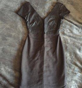 Платье кож вставка