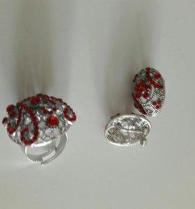 Бижутерия кольцо +серьги