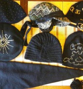 Классные вязаные шапки берет кепка трикотаж шерсть
