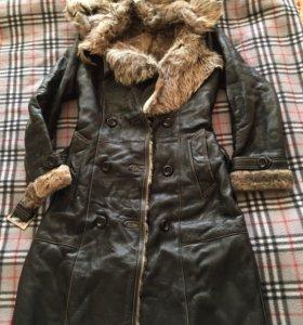Кожаное пальто(дубленка)