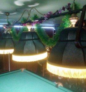 Русский бильярд 10 ф., лампа, подставка и шары