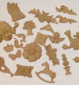 Декор для творчества из древесной пасты.