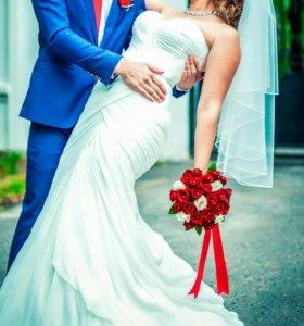 Свадебное платье+ кольца и фата