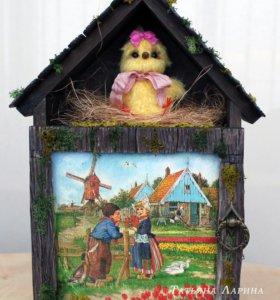 Ключница в прихожую с дверкой Цыпленок (новая)