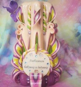 Свеча с надписью на подарок (под заказ)
