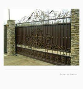 Ворота откатные, секционные.
