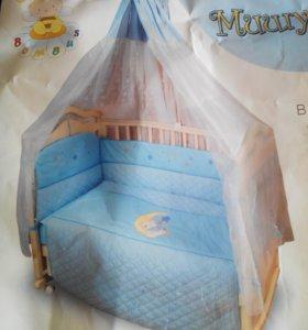 Балдахин с бортами в детскую кроватку