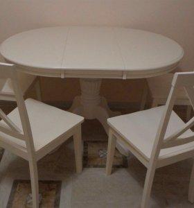 Новый стол и 4 стула из дерева!