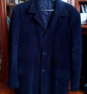 Удлинённый пиджак -пальто тёмно-синего цвета