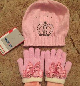 Шапка детская +перчатки детские