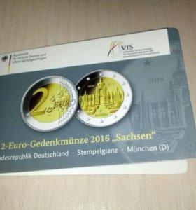 Германия 2 евро 2016 Саксония (D) BU
