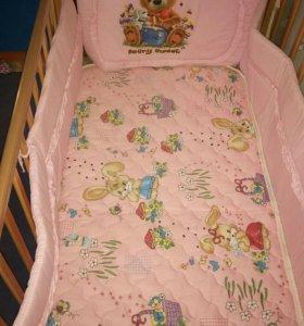 Детская кровать с маятником и матрасом +балдахином