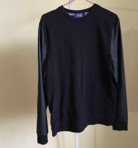 Пуловер с кожаными рукавами