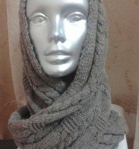Вязаный шарф - хомут в два оборота