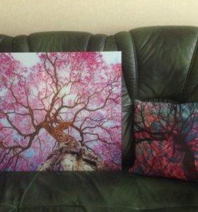 """Картина и подушка """"Дерево Сакуры"""""""