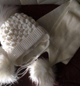 Зимний комплект( шапка и шарф)