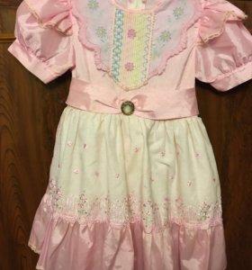 Платье новое розовое с бантом