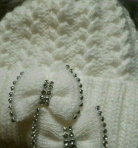 Зимняя шапка на 0-3 мес. Очень теплая