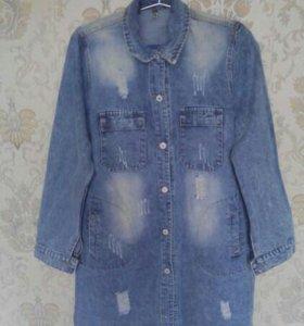 Джинсовая удлиненная куртка